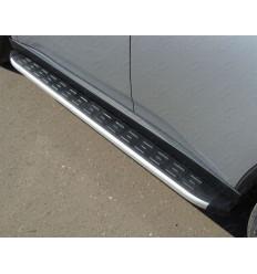 Пороги алюминиевые с пластиковой накладкой (из 2-х мест) на Volkswagen Amarok VWAMAR10-10AL