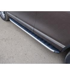 Пороги алюминиевые с пластиковой накладкой (из 2-х мест) на Volkswagen Touareg VWTOUAR14-07AL