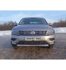 """Защита передняя нижняя (овальная короткая, пакет """"Offroad"""") на Volkswagen Tiguan VWTIGOFR17-18"""