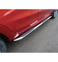 Пороги овальные гнутые с накладкой на Лада XRAY LADXRAY16-17