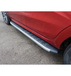 Пороги алюминиевые с пластиковой накладкой (карбон серые) на Лада XRAY LADXRAY16-21GR