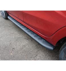 Пороги алюминиевые с пластиковой накладкой (карбон черные) на Лада XRAY LADXRAY16-21BL