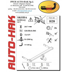 Фаркоп на Skoda Kodiaq H 28