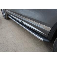 Пороги алюминиевые с пластиковой накладкой на Volkswagen Touareg VWTOUARRL14-08AL