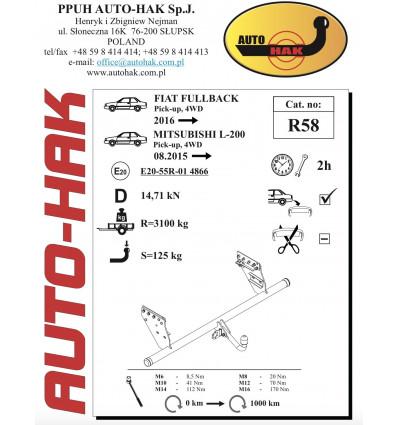 Фаркоп на Fiat Fullback R 58