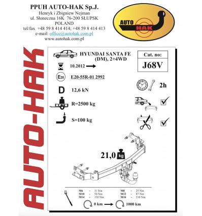 Фаркоп на Hyundai Santa Fe J 68V