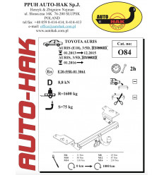 Фаркоп на Toyota Auris 0 84