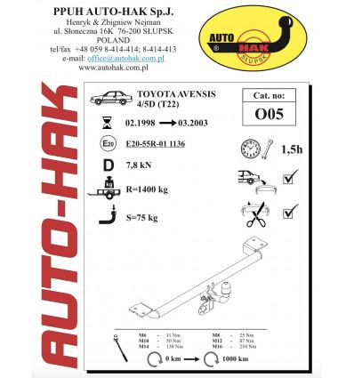Фаркопа на Toyota Avensis 0 05
