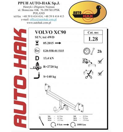 Фаркоп на Volvo XC90 L 28