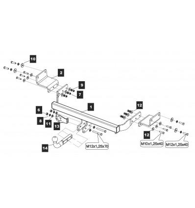 Фаркоп на Hyundai Solaris 10.3380.12