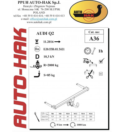 Фаркоп на Audi Q2 A 36