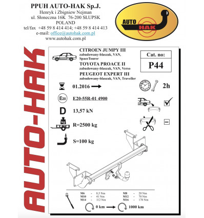 Фаркоп на Toyota Proace P 44