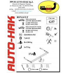 Фаркоп на Renault Megane G 57
