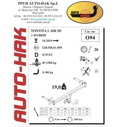 Фаркоп на Toyota C-HR 0 94