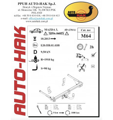 Фаркоп на Mazda 3 M 64