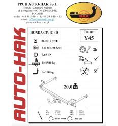 Фаркоп на Honda Civic Y 45