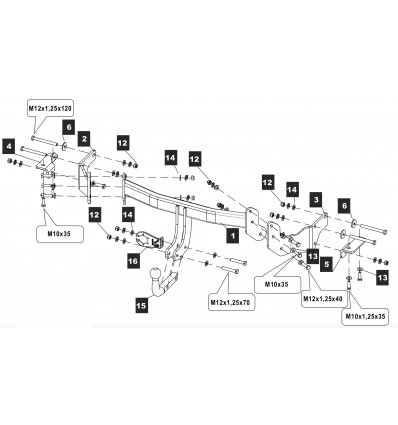 Фаркоп на Hyundai Santa Fe 10.2574.12
