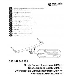 Фаркоп на Skoda Superb 317141600001
