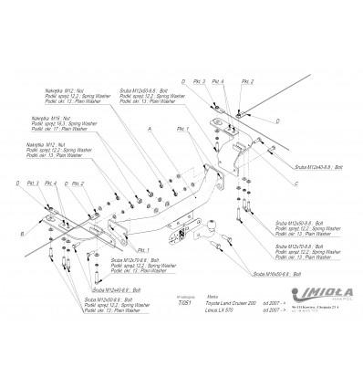Фаркоп на Toyota Land Cruiser 200 T/051