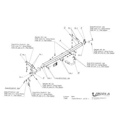Фаркоп на Toyota Sienna T/040