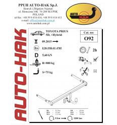 Фаркоп на Toyota Prius 0 92