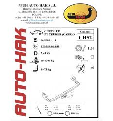 Фаркоп на Chrysler PT Cruiser CH 52