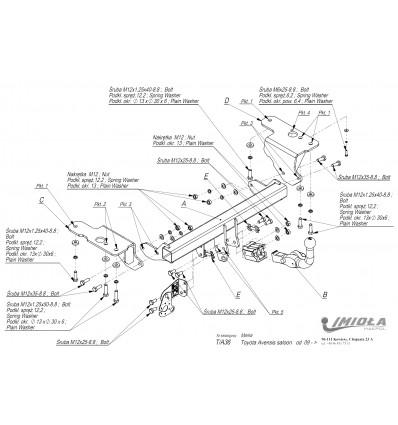 Фаркоп на Toyota Avensis T/А36