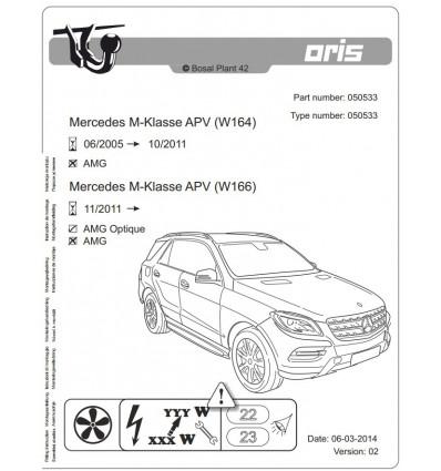 Фаркоп на Mercedes ML 050-533