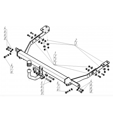 Фаркоп на Peugeot Partner 2 91601-A