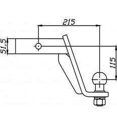 """Шар для """"американского"""" фаркопа Auto-Hak с понижением 11,5см. 50х50 AH-2"""