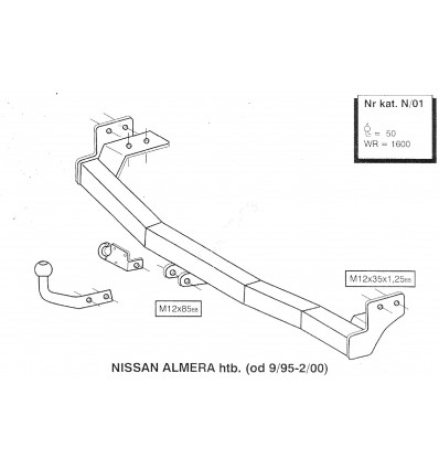 Фаркоп на Nissan Almera N/001