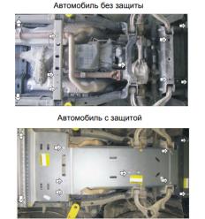 Защита картера, радиатора, КПП, РК и переднего дифференциала Dodge RAM 382901