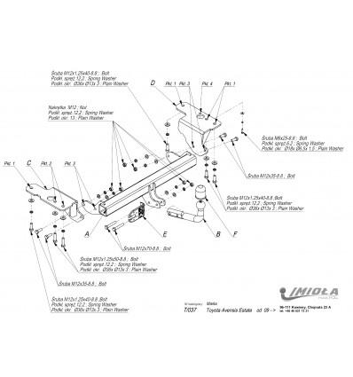 Фаркоп на Toyota Avensis T/037