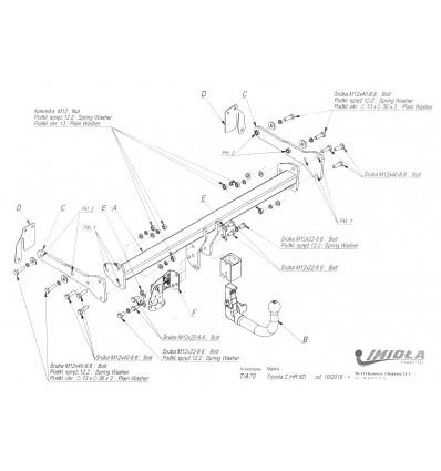 Фаркоп на Toyota C-HR T/A70