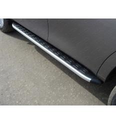 Пороги алюминиевые с пластиковой накладкой (из 2-х мест) на Nissan Patrol NISPATR10-13AL