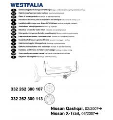 Штатная электрика к фаркопу на Nissan Qashqai /X-Trail 332262300107