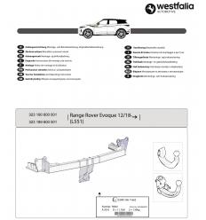 Фаркоп на Land Rover Evoque 323190600001