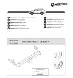 Фаркоп на Renault Koleos 316454600001