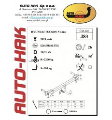 Фаркоп на Hyundai Tucson N Line J 83